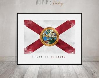 Florida art flag, art print, Office decor, Wall art, flag poster, United States flag, travel poster, gift, home decor ArtPrintsVicky