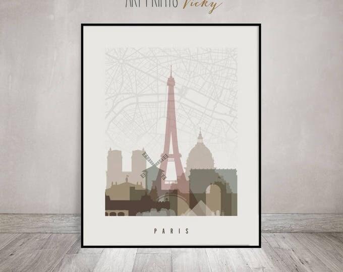 Paris map, Paris print, Paris skyline art, wall art, Paris poster, France, City print, Travel gift, Home Decor, Wall Decor, ArtPrintsVicky