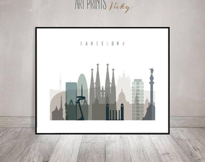 Barcelona skyline, Barcelona wall art print, Poster, Spain, travel decor, City prints, Wall decor, Gift, Home Decor, ArtPrintsVicky