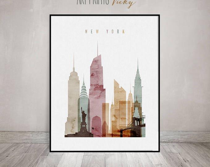 New York art print, watercolor poster, New York skyline, NYC poster, Travel Wall art, city poster, typography art, home decor ArtPrintsVicky