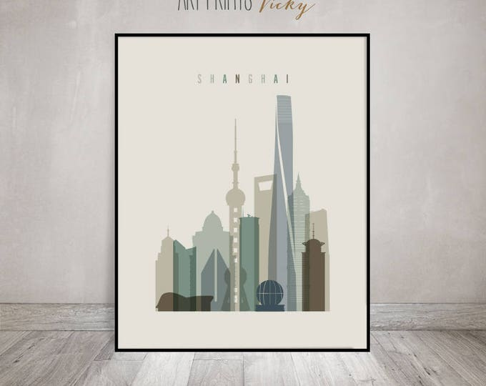 Shanghai art print, Poster, Travel Wall art, Shanghai skyline, China cityscape, City poster, Typography art, Home Decor, ArtPrintsVicky