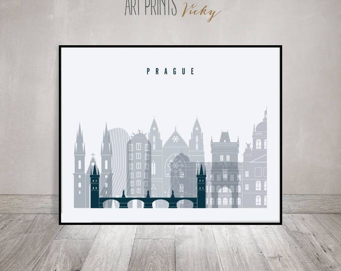 Prague skyline art, print, Poster, Travel decor, wall art, Czech Republic poster, City poster, Typography art, Home Decor, ArtPrintsVicky