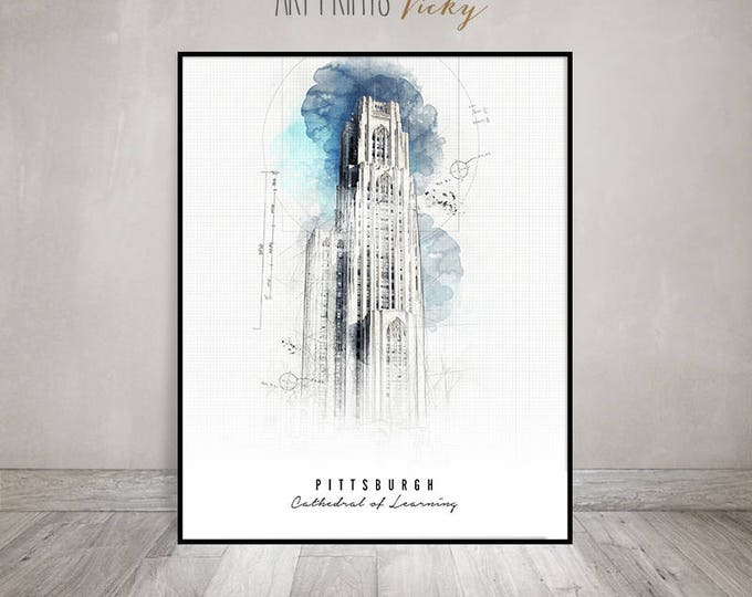 Pittsburgh art poster, Pittsburgh Cathedral of Learning print, Wall art prints, Urban art, Contemporary art, Travel gift, ArtPrintsVicky