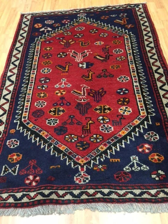 "3'7"" x 5'2"" Persian Shiraz Oriental Rug - Tribal Design - Hand Made - 100% Wool"