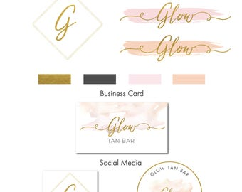 Watercolor logo, logo, logo design, branding package, Mini branding kit, Photography Logo, Watermark Logo Gold Logo, Watermark