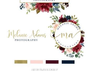 Watercolour logo, Gold logo, Floral Logo, Branding Kit, Logo design, Logo, Watermark Logo, Photography logo, Premade logo, Elegant Logo