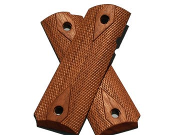Triceratops Customs Full Size Checkered Walnut 1911 Grips