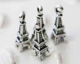 set of 10, eiffel tower charms, building charms, famous destinations, paris charms, traveling charms, silver charms, metal charms,