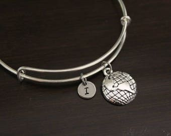 Globe Bangle Bracelet - Geography - World Gift - World Bangle - Traveler Gift - I/B/H