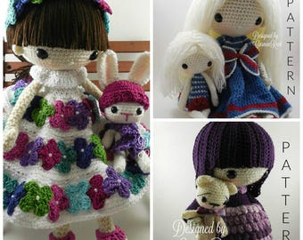 July, August, September, their Pets and Doll- Amigurumi Dolls Crochet Patterns