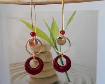 dark red sequin gold earrings