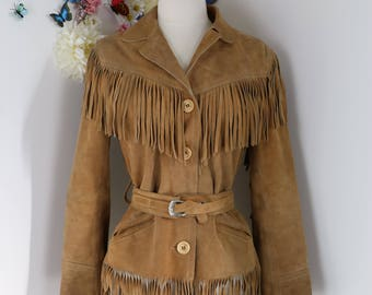1960s Brown Suede Fringe Jacket - Western Cowboy - XS/S - 1960s Jacket - Davy Crockett - Hippie Jacket - Boho Belted Leather Jacket