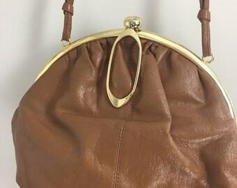 1960s Purse - Round Framed Handbag - Brown - Vegan - Faux Leather - Gold Metal Accents - Art Deco Closure - Vintage Shoulder Bag
