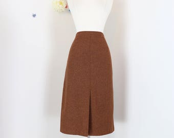 "1950s Skirt - A-line Midi - Brown - Classic Vintage - Wool Tweed - Front Slit Back Slit - Fall Winter - Size Medium 29"" - 31"" Waist"