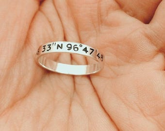 Coordinates Ring, Latitude Longitude Ring, Custom Coordinates Ring, Stacking Rings, GPS coordinates, Long Distance, Christmas Gift, For Him