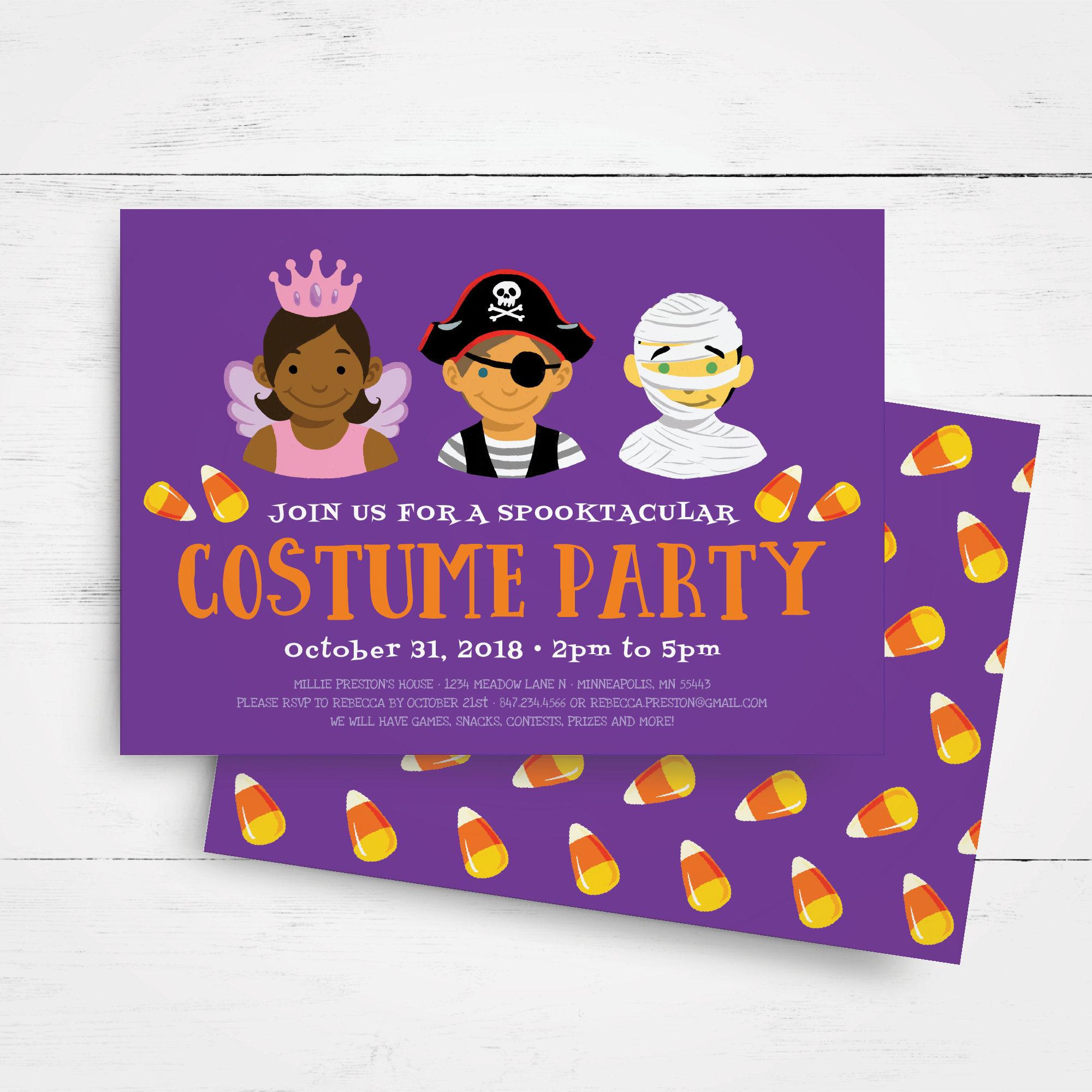 Halloween Invitation Template Kids Halloween Party Invitation – Costume Party Invitation