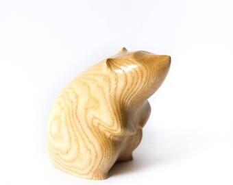 Wooden White Rat Statue, Wooden White Rat Figurine, Wood Carving, Hand Carved, Wooden Statue, Wooden Figurine