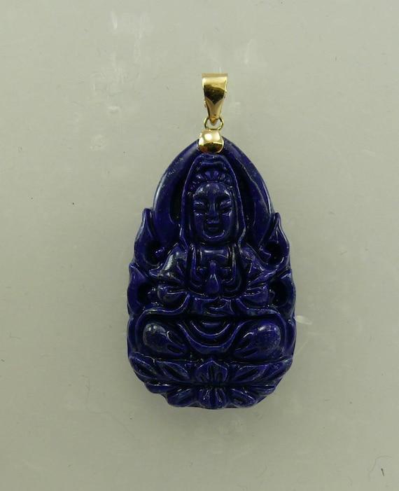 Lapis Buddha Pendant 14k Yellow Gold