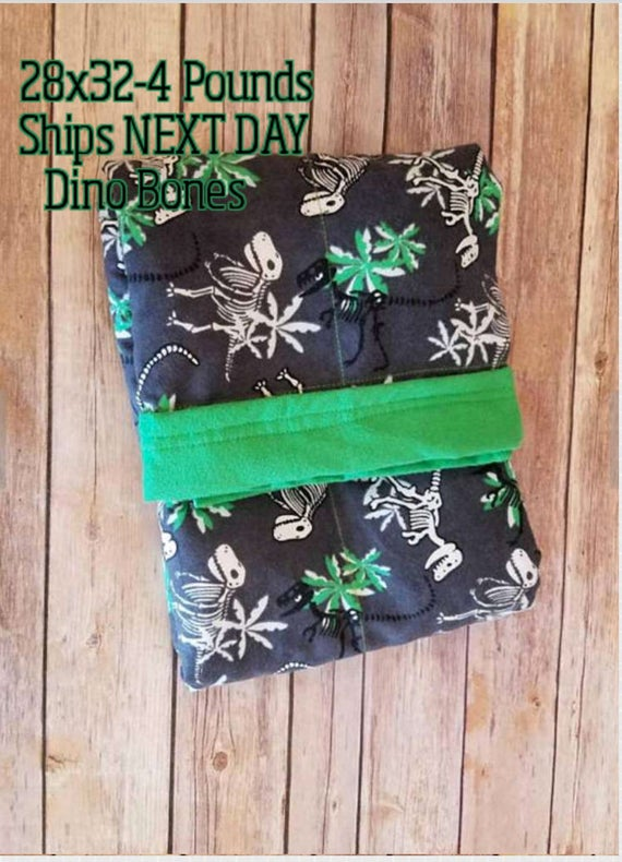 Dinosaur, Dino, 4 Pound, WEIGHTED BLANKET, Ready To Ship, 4 pounds, 28x32 for Autism, Sensory, ADHD, Calming, Anxiety,