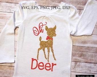 Oh Deer SVG, Deer svg, Christmas SVG, Reindeer Head Svg, Deer Clip Art, Reindeer Face SVG, Christmas Reindeer, Cricut, Silhouette Cut File