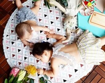 Big pink triangle Play Mat, Floor Rug Nursery Decor, Padded play mat, Round rug/ Christmas gift