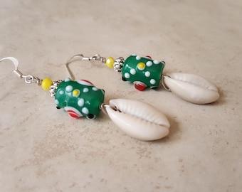 African Trade Bead Earrings - Cowrie Shell Earrings - Tribal Earrings - Shell Earrings - Hypoallergenic Earrings - Abstract Earrings