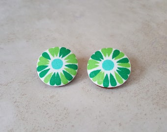 Flower Stud Earrings - Flower Earrings - Green Stud Earrings - Bloom Earrings - Cotton Fabric Earrings - Fabric Stud Earrings