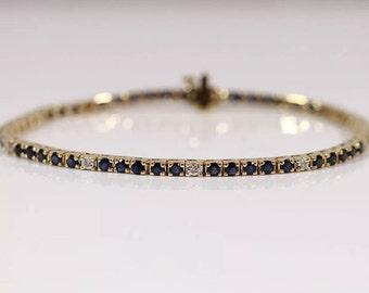 Vintage BH Effy 14K Yellow Gold Diamond & Blue Sapphire Link Tennis Bracelet