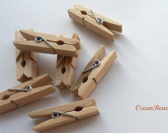 50 Mini Clothespins, mini clothes pegs, wooden pegs, Clothespins mini wood, Decorative Clothespins, Confetti