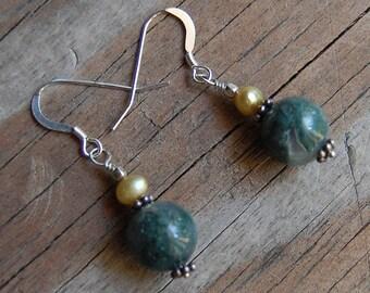 Sterling Silver with Genuine Ocean Jasper & Pearl Dangle Earrings
