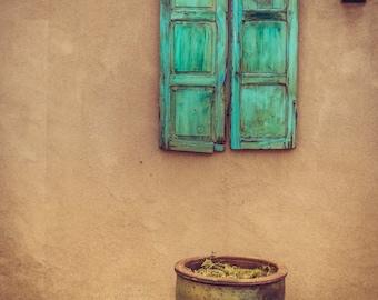 Southwest Home Decor Window Photo Print Santa Fe New Mexico Turquoise Home Decor Window Shutters Adobe Architecture Photography Print