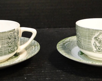 TWO Royal China The Old Curiosity Shop Cup Saucer Sets 2 EXCELLENT!