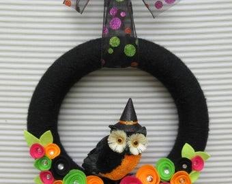 Halloween Owl Wreath, Owl Wreath, Fall Owl Wreath, Halloween Wreath, Black Owl Wreath, Black Yarn Wreath, Black Flower Wreath