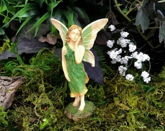 Miniature Graceful Fairy in Green and Cream
