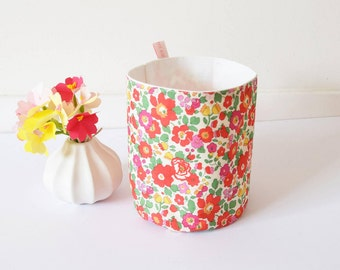 Lovely liberty fabric basket , reversible fabric basket , liberty of london basket , flower basket , stylish basket , storage container
