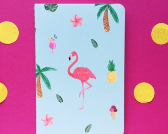 A6 flamingo lined notebook