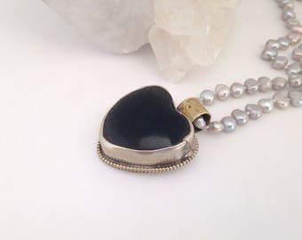 Heart Pendant, Necklace, Onyx