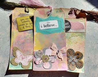 Set 3 x Large Girly Glitter Tags