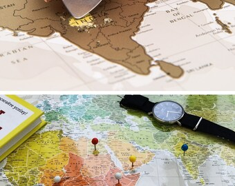 """Push Pin Travel Map – Scratch Off World Map Wall Poster with Push Pins 34.6"""" x 23.6"""""""