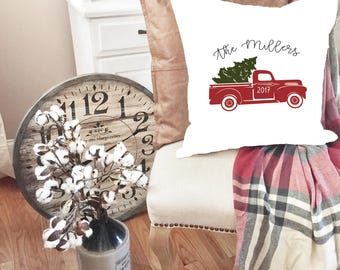 Christmas Pillows - Throw Pillow Cover - Red Truck Custom Pillow Cover - Christmas Tree Pillow - Christmas Tree Truck  - Red truck Pillow