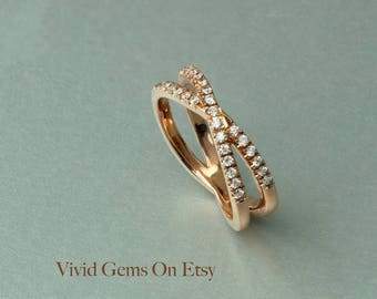 Narrow X Band Crossover Diamond Ring in 14k Yellow Gold