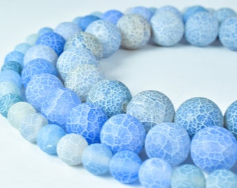 Gemstone agate stone Beads 8mm/10mm/12mm Matte Lace Agate Mixed Blue Round Beads Stone round loose birthstone Gemstone Beads for jewelry