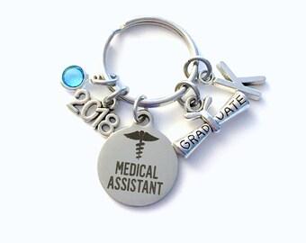 Graduation Gift for Medical Assistant Keychain, 2018 MA Key Chain, Initial Birthstone Grad Present Keyring 2019 Graduate scroll women her