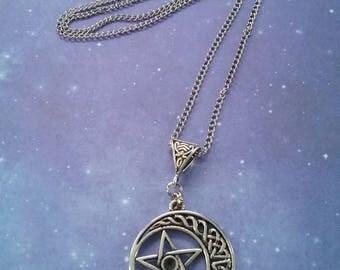 Celestial Crescent Moon and Pentagram Pendant Necklace