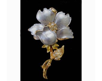 Flower Pin * Silver And Gold With Rhinestones * Classic Vintage Brooch * Gift For Lady