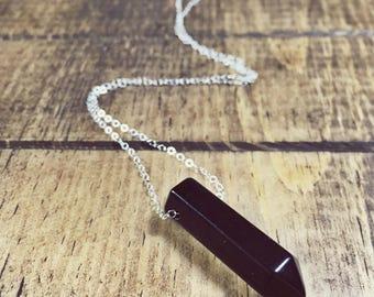 Black Agate Necklace, Silver Necklace, Sterling Silver Jewelry, Silver Jewelry, Black Gemstone, Minimal Necklace, Modern Necklace