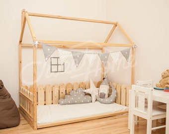 Kids Bedroom House express shiping handmade bed twin wood house bed montessori