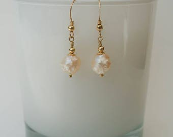 Golden Rosebud Freshwater Pearl Drop Earrings - Gold Blush White Granulated Pearl Earrings with 14K Gold Filled Hooks and Beads