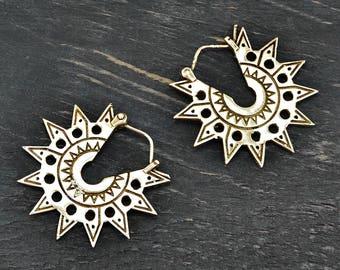 Tribal Sun Earrings, Aztec Sun Earrings, Silver Hoop Earrigs, Aztec Earrings, Tribal Earrings, Sun Hoop Earrings, Mexican Jewelry