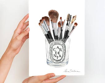 Makeup Print, Make up Brushes Print, Makeup illustration, Makeup Wall Art print, Fashion Art Print, Fashion illustration, Diptyque print
